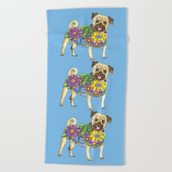 The Pugster (Blue) Beach Towel