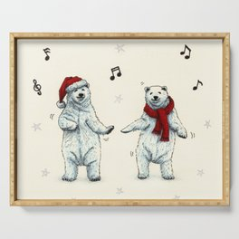 The polar bears wish you a Merry Christmas Serving Tray