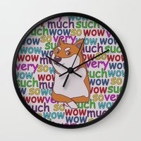 doge Wall Clocks featuring Doge  by Corinna Schlachter