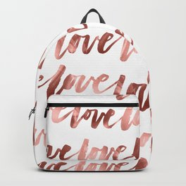 Love Script Rose Gold Typography Pattern 2 Backpack