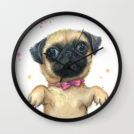 Cute Pug Puppy Dog Watercolor Painting Wall Clock