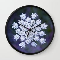 snowflake Wall Clocks featuring Snowflake by The Last Sparrow