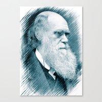 darwin Canvas Prints featuring Charles Darwin by Zandonai