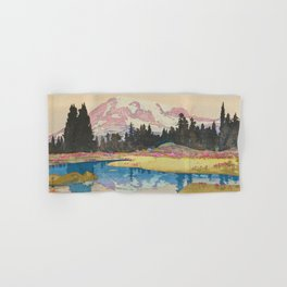 Mount Rainier Vintage Beautiful Japanese Woodblock Print Hiroshi Yoshida Hand & Bath Towel