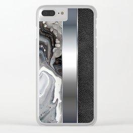 Black Leather Silver Metal Print - Black Silver Fluid Acrylic Art Clear iPhone Case