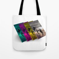 popart Tote Bags featuring PopArt HORSE by MehrFarbeimLeben