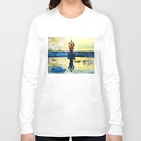 yoga Long Sleeve T-shirts featuring yoga by Chantale Roger