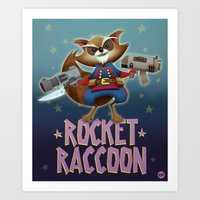 rocket raccoon Art Prints featuring Rocket Raccoon by Alex Santaló