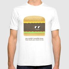 Cheesy Burger MEDIUM Mens Fitted Tee White