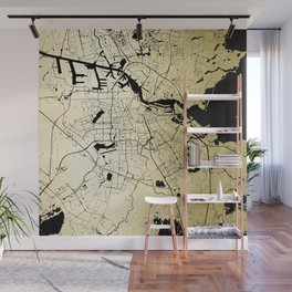Amsterdam Gold on Black Street Map Wall Mural