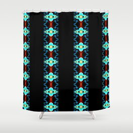 Neon Blue and Red Striped Fractal Shower Curtain