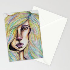 CRAYON LOVE:Woman in the Rainbow Hair Stationery Cards