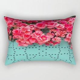 Begonia on Turqoise Rectangular Pillow