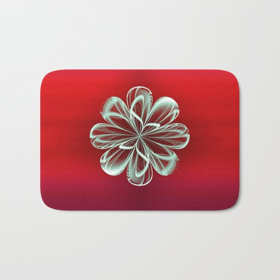 Cyan Bloom on Red Bath Mat