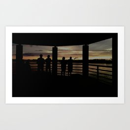 Human Silhouettes - Sunsets at The Fly series Art Print