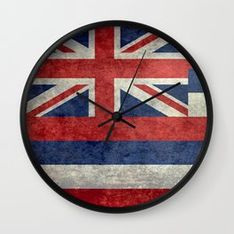 Hawaiian Flag in Vintage Retro Style Wall Clock