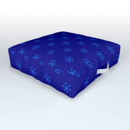 Brandeis Blue on Navy Blue Snowflakes Outdoor Floor Cushion