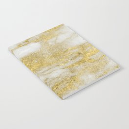 Marble - Glittery Gold Marble and White Pattern Notebook