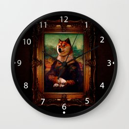 Doge Mona Lisa Fine Art Shibe Meme Painting Wall Clock