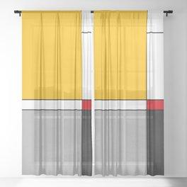 Mid century Modern yellow gray black red Sheer Curtain