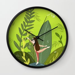 Dance Girl In Grass Wall Clock