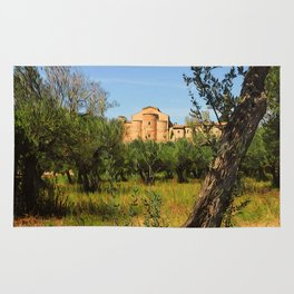 Italy, olive trees and an ancient abbey Rug