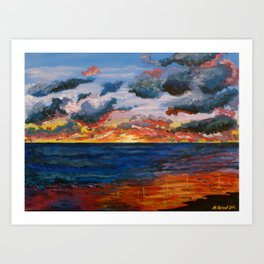 beach sun set Art Print