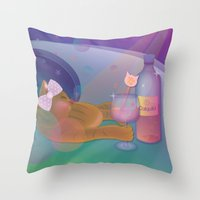 drunk Throw Pillows featuring Drunk Cat by Graphic Tabby