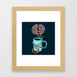 Coffee for the brain. Funny coffee illustration Framed Art Print