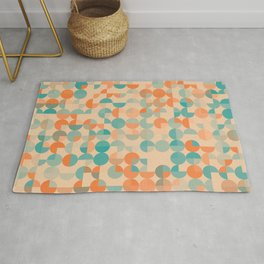 Modern abstract circles geometric art on pastel background Rug