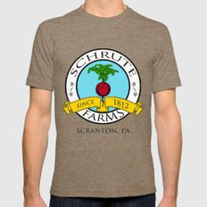Schrute Farms | The Office - Dwight Schrute Mens Fitted Tee LARGE Tri-Coffee