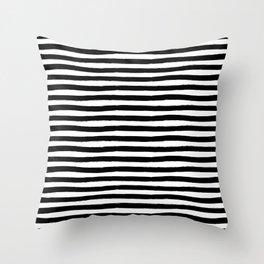 Black And White Hand Drawn Horizontal Stripes Throw Pillow