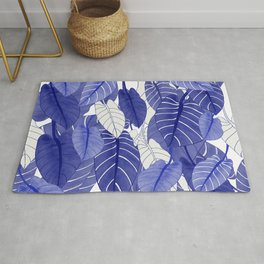 Lovely Leaves in Blue Shades - Spring Summer Mood - Blue and White #society6 #1 Rug