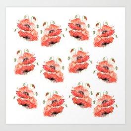 Poppy flowers watercolor Art Print
