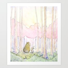 Unlikely Friendship Large Print (Bunny and Bear in the Woods) Art Print