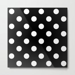 Polkadot (White & Black Pattern) Metal Print