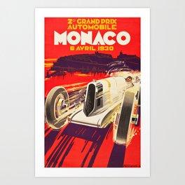 Vintage Racing Poster - Monaco Grand Prix 1930 Art Print