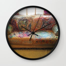 """""""Famous Late Night Painted Sofa"""" - nice, very old Italian Leather Sofa I painted. Wall Clock"""