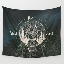 Mountains Compass Milky Way Woods Gold Wall Tapestry