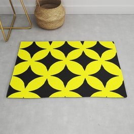 Mid-Century Modern Lemon Drop Martini Yellow Pattern Rug