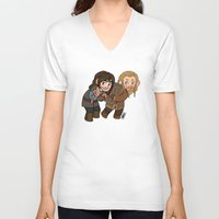 kili V-neck T-shirts featuring Fili and Kili by Hattie Hedgehog