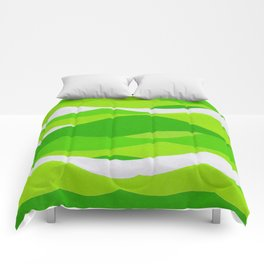 Waves - Lime Green Comforters