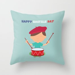 Little Kid and French Drum - Bastille Day Throw Pillow