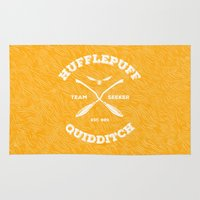 quidditch Area & Throw Rugs featuring Hufflepuff Quidditch by Sharayah Mitchell