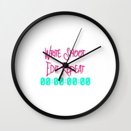 Write Shoot Edit Video Editing Fun Quote Wall Clock