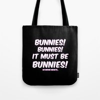 bunnies Tote Bags featuring Bunnies by Nana Leonti