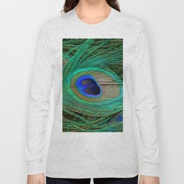 Peacock Feather Macro Design Long Sleeve T-shirt