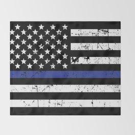 Police Thin Blue Line Flag Throw Blanket