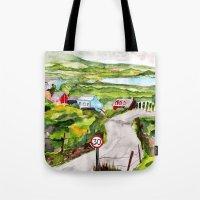 ruben ireland Tote Bags featuring Ireland by KS Art & Design