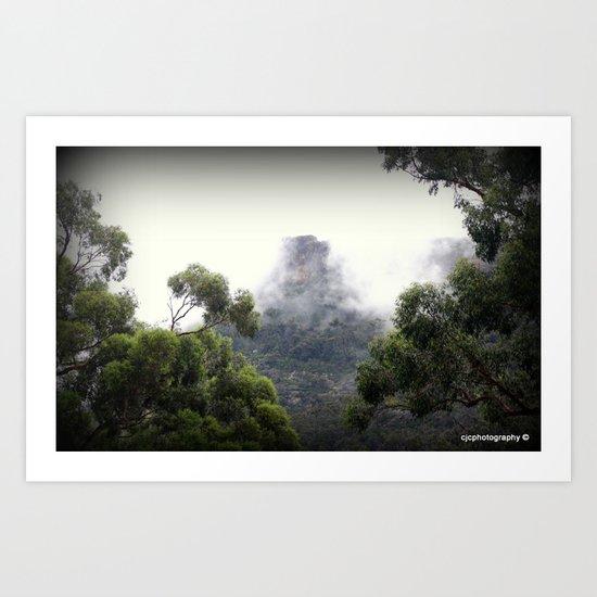 Fog covering Mt.William Art Print